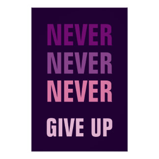 Never Never Never Give Up Motivational Poster