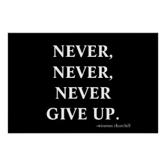 Never never never give up. poster