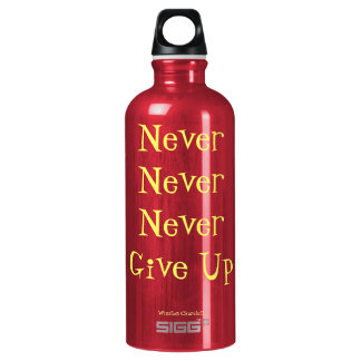 Never Never Never Give Up Quote Aluminum Water Bottle