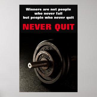 Never Quit Inspirational Fitness Dumbell Poster