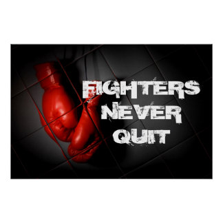 Never Quit Inspirational Red Boxing Gloves Poster
