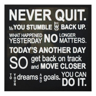NEVER QUIT PANEL WALL ART