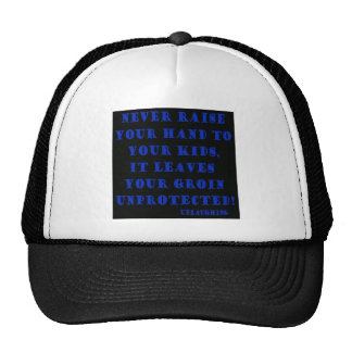 never raise your hand trucker hat