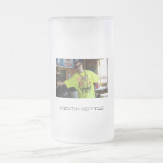 NEVER SETTLE Custom Frosted Beer Mug