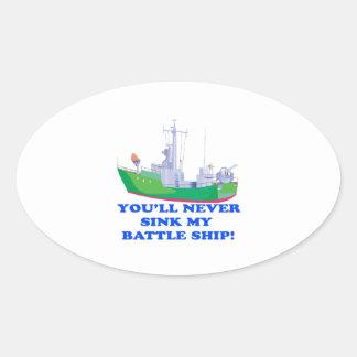 Never Sink My Battle Ship Oval Sticker