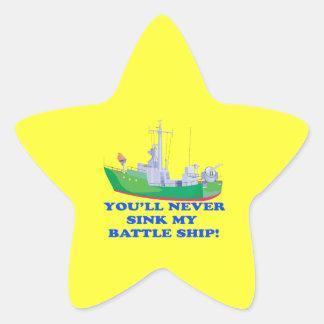 Never Sink My Battle Ship Star Sticker