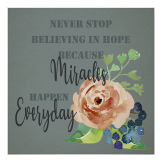 NEVER STOP BELIEVING IN HOPE MIRACLES EVERYDAY POSTER