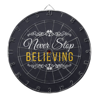 Never Stop Believing Inspirational Design Dartboard With Darts