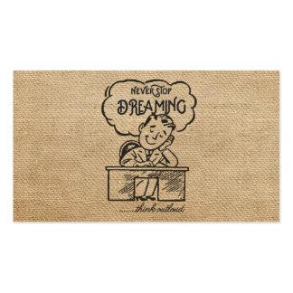 Never Stop Dreaming Illustration Vintage Man Business Card