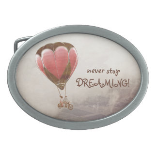 NEVER STOP DREAMING OVAL BELT BUCKLE
