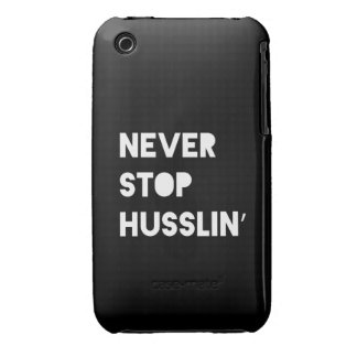 Never Stop Husslin Inspirational Quote Black White Case-Mate iPhone 3 Case