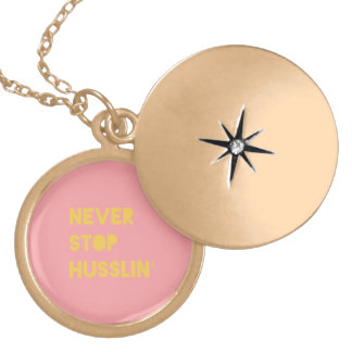 Never Stop Husslin Inspirational Quote Pink Yellow Pendants