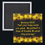 """never stop praying Magnet<br><div class=""""desc"""">Here is a great magnet or gift, as it reads &quot;Romans 12:12 &quot;Let your hope make you glad. Be patient in time of trouble &amp; never stop praying.&quot; Please come on in and visit my store to see more inspiring creations. However I always encourage original ideas and orders. I would...</div>"""
