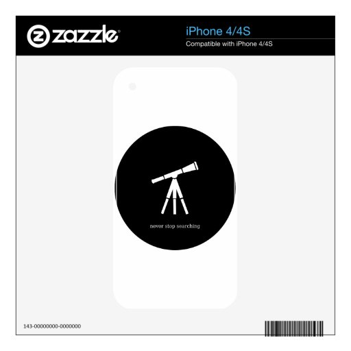 Never Stop Searching Telescope Decals For iPhone 4S