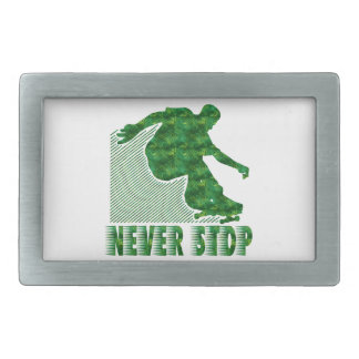 Never Stop: Skateboarding Belt Buckle