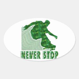 Never Stop: Skateboarding Oval Sticker