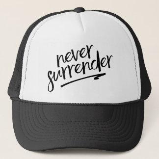 Never Surrender Handwritten-Style Quote Trucker Hat
