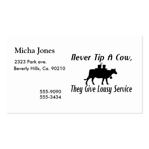Never Tip A Cow Double-Sided Standard Business Cards (Pack Of 100)