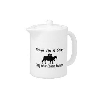 Never Tip A Cow Teapot