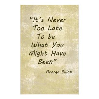 Never Too Lage George Elliot Stationery