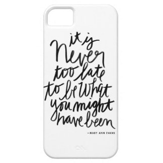 Never too Late iPhone Case | black and white quote
