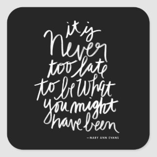 Never too Late Sticker | black and white quote