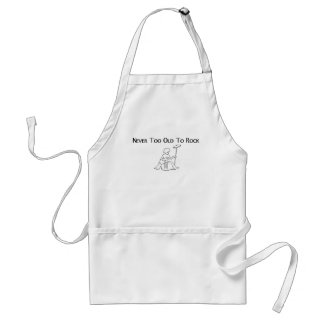 Never Too Old to rock guitarist on stool Adult Apron