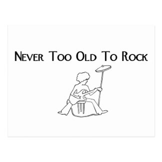Never Too Old to rock guitarist on stool Postcard