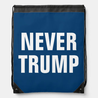 NEVER TRUMP DRAWSTRING BACKPACK