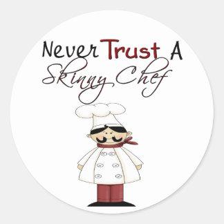 Never Trust a Skinny Chef Classic Round Sticker