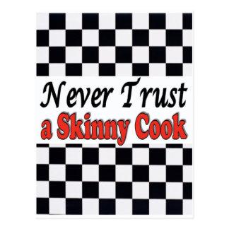 Never Trust a Skinny Cook Postcard