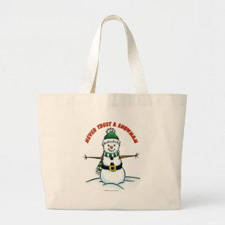 Never Trust a Snowman Jumbo Tote Bag