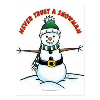 Never Trust a Snowman Postcard