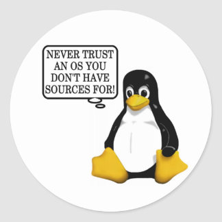 Never trust an OS you don't have sources for! Stickers
