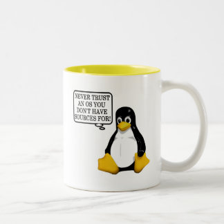Never trust an OS you don't have sources for! Two-Tone Coffee Mug