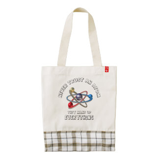 Never trust atom zazzle HEART tote bag
