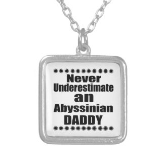 Never Underestimate Abyssinian Daddy Silver Plated Necklace