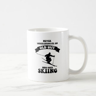 Never underestimate an old guy who goes skiing coffee mug