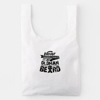 Never Underestimate an OLD MAN With a Beard Reusable Bag
