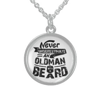 Never Underestimate an OLD MAN With a Beard Sterling Silver Necklace