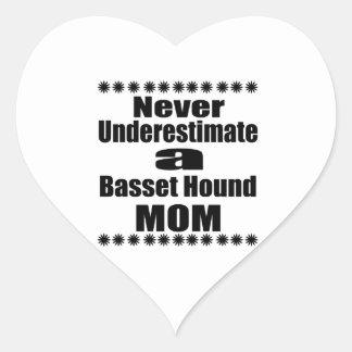 Never Underestimate Basset Hound Mom Heart Sticker