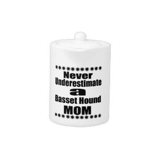 Never Underestimate Basset Hound Mom Teapot