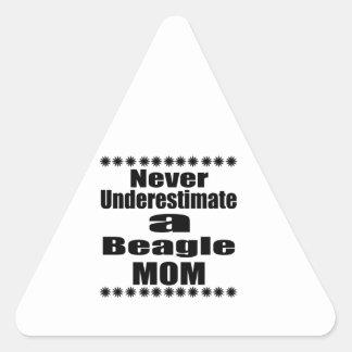 Never Underestimate Beagle Mom Triangle Sticker