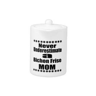Never Underestimate Bichon Frise Mom Teapot