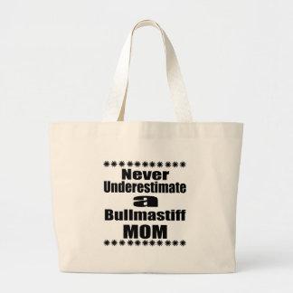 Never Underestimate Bullmastiff Mom Large Tote Bag