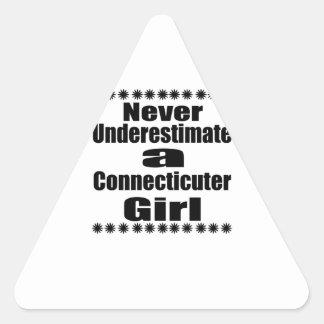 Never Underestimate  Connecticuter Girlfriend Triangle Sticker