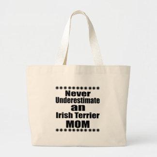Never Underestimate Irish Terrier Mom Large Tote Bag