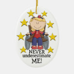 Never Underestimate ME - SRF Double-Sided Oval Ceramic Christmas Ornament