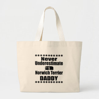 Never Underestimate Norwich Terrier Daddy Large Tote Bag