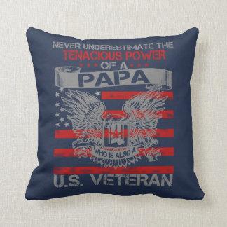 Never underestimate Papa Throw Pillow